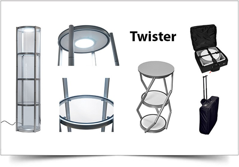 Mobiele vitrinekast Twister rond