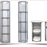 Mobiele opvouwbare ronde vitrinekast