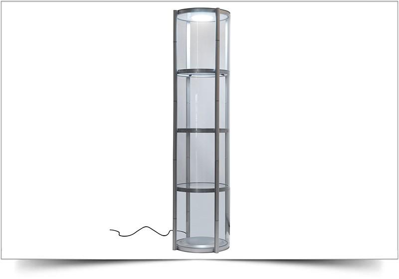 Mobiele vitrinekast Twister rond 206cm hoog