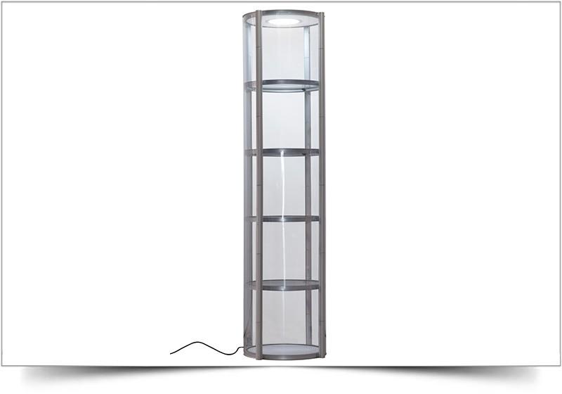 Mobiele vitrinekast Twister rond 256cm hoog