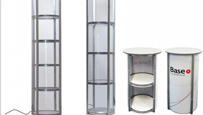 Mobiele opvouwbare ronde vitrinekast en balie twister