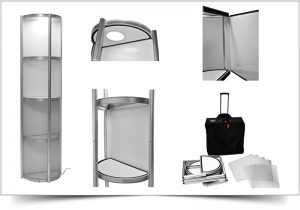 halfronde mobiele presentatiekaste of vitrinekast Twister