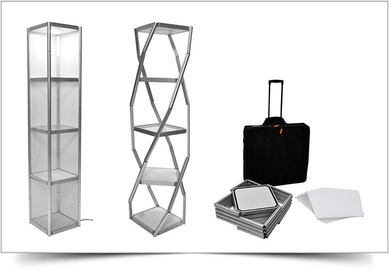 vierkante mobiele presentatiekast en vitrinekast Twister
