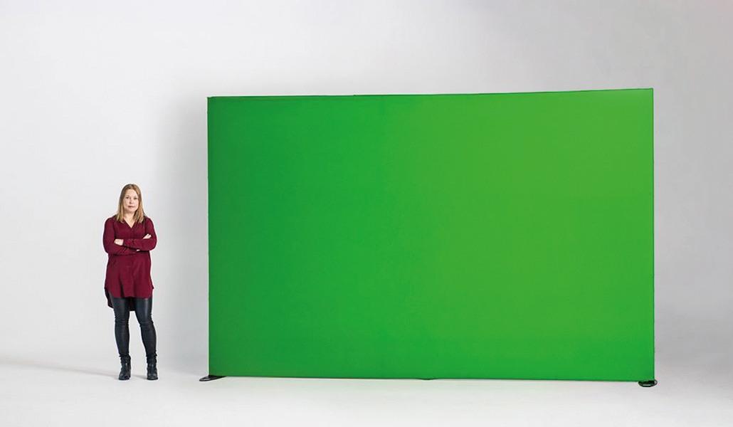 Green screen recht hangend aan het plafond